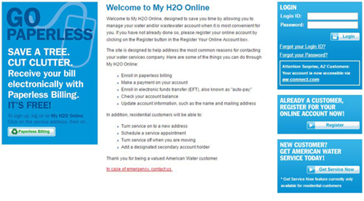 American Water's customer account management site, My Water Online.