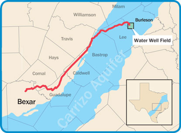 142 Miles of pipeline will transport water from Burleson County to San Antonio. Photo: SAWS
