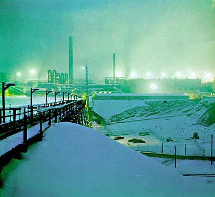 Bunker Hill smelter operating in winter snow. Photo: Wikimedia Commons.