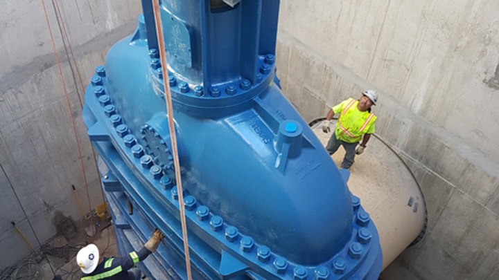 The valves weigh in at over 100 tons and stand 40 feet tall.