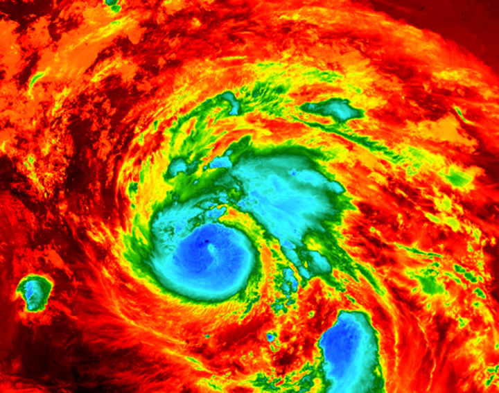Hurricane Harvey satellite image via Wikimedia Commons.