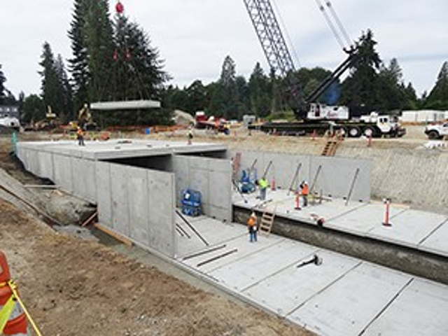 Oldcastle Precast's Stormwater Panel Vault System installed