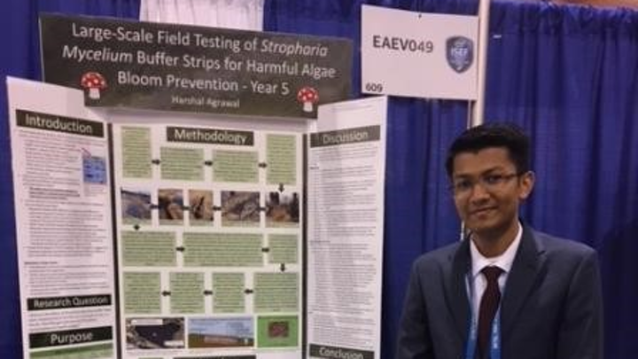 Harshal Agrawal, winner of the 2019 Patrick H. Hurd Sustainability Award stands in front of his winning project.