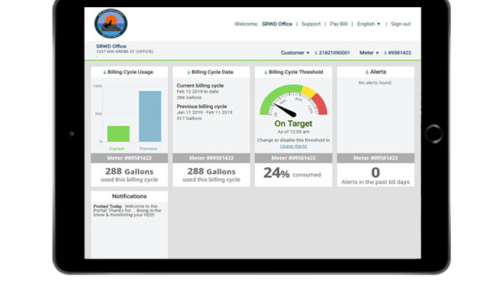 The Customer Portal encourages SRWD customers to be in the know and monitor their H2O.