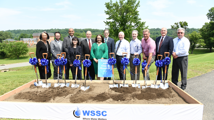 U.S. Senator Cardin and Maryland Environment Secretary Grumbles Applaud WSSC for Recovering Vital Resources from Wastewater Treatment. L-R: WSSC Chair, T. Eloise Foster; Scott Travers, U.S. Senator Chris Van Hollen's Office; WSSC Vice Chair Chris Lawson; Adriana Hochberg, Montgomery County Assistant Chief Administrative Officer for Environmental Protection; Floyd Holt, Deputy Chief Administrative Officer at Prince George's County Government; WSSC GM/CEO Carla Reid; Ben Grumbles Maryland Secretary of the Environment; U.S. Senator Ben Cardin; Stan Dabek WSSC Project Manager; Kevin Selock WSSC Program Manager; Jay Fayette, PC Construction CEO; WSSC Director of Production J.C. Langley.