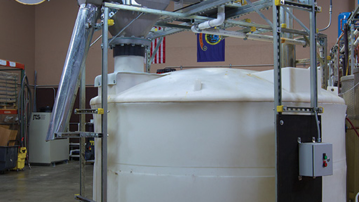 The Centri-Sifter™ centrifugal sifter separates about 7,500 lbs per week of fine grain particles from 8 Feathers' stillage.