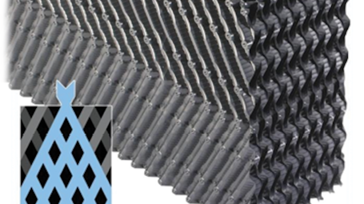 High efficiency cross-fluted fill. Photo courtesy of Brentwood Industries.
