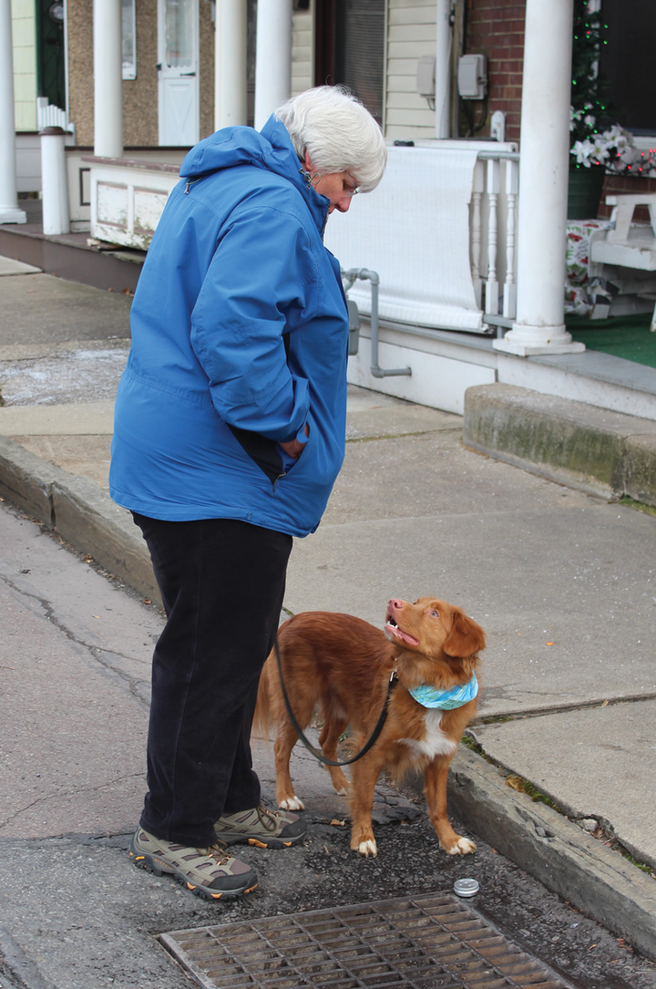 """Sussey,"" a sewage-sniffing dog, signals a found scent through intense eye contact with his handler, Middle Susquehanna Riverkeeper Carol Parenzan. Photos courtesy of Middle Susquehanna Riverkeeper Association Inc./Ann Nowaskie."