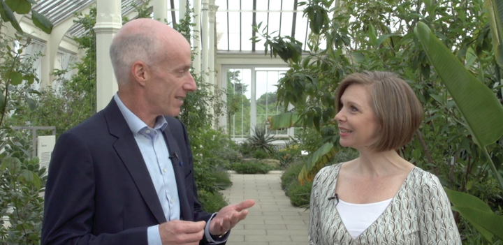 Dr. David Sedlak talks with Angela Godwin during the 2019 BlueTech Forum in London.