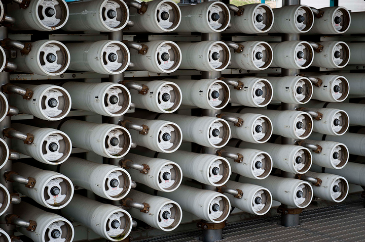 Reverse osmosis membranes are used in the water treatment process in water reclamation and reuse projects.