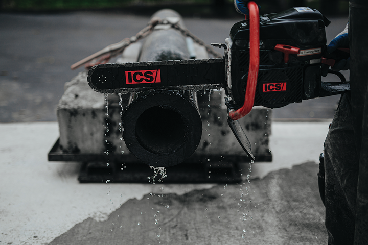 The ICS® power cutter with PowerGrit® pipe cutting chain is the world's largest water company's tool of choice when cutting pipe in the trench.
