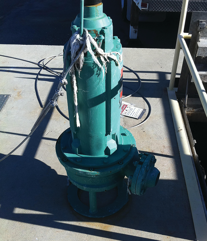This Vaughan chopper pump eliminated a 4' mat of grease and debris, plus paid for itself in 2 1/2 months.