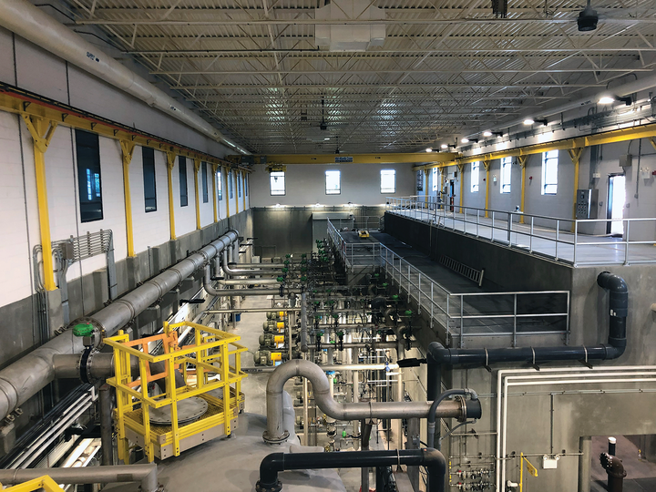 Interior of the Gastonia Water Treatment Plant, depicting the 12 MGD membrane treatment process prior to distribution.