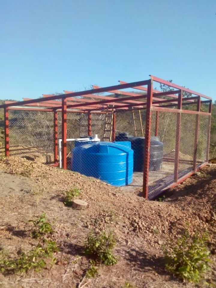 Two 1,250-gallon (5,000L) water storage tanks installed at an elevation of over 1,000 ft. (300 m). The tanks are fully chlorinated and emptied and refilled on a daily basis.